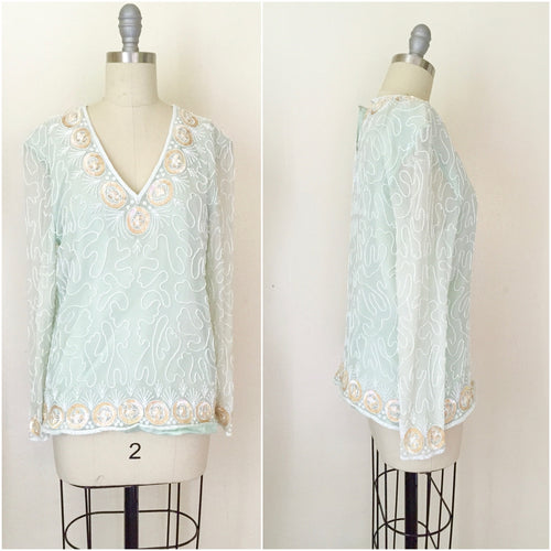 1980s Silk Chiffon Seaglass Blouse - Vintage World Rocks - 1