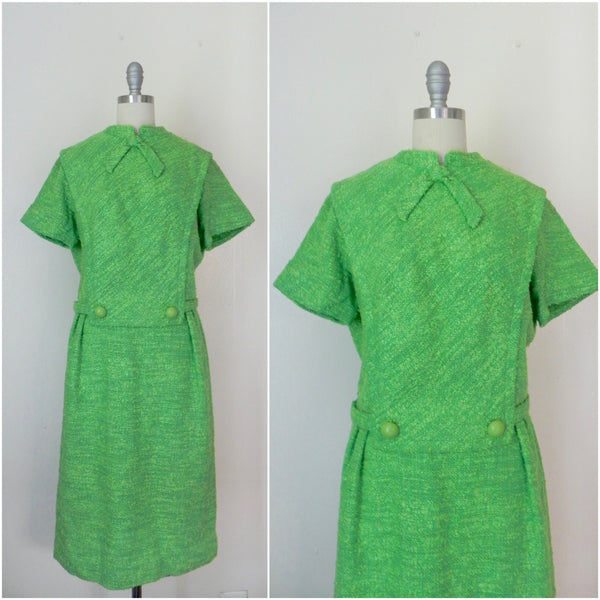 Vintage 1960's Green Tweed Dress by R & K Originals - Vintage World Rocks - 1