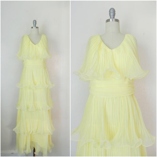 Vintage 1950's Miss Elliette, Yellow Ruffled Chiffon Dress - Vintage World Rocks - 1