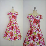 Vintage 1950s Style Pink White Floral Swing Dress