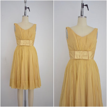 Vintage 1950s Lillie Diamond Ivory Cocktail Dress