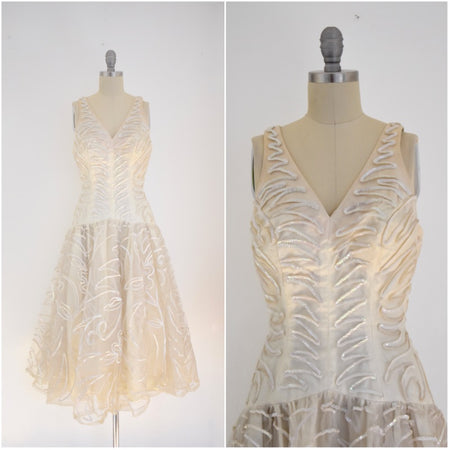 Vintage 1980s Rizik Brothers Gold Sequin Evening Gown