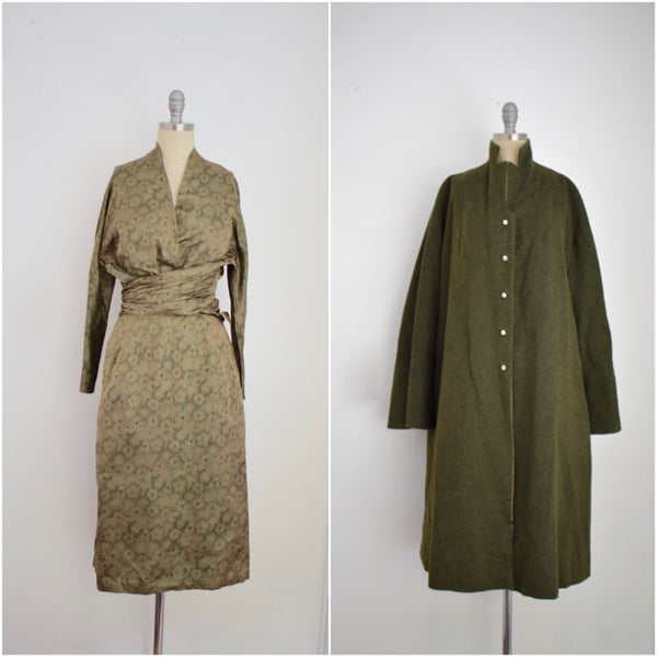 Vintage 1940s Vera Maxwell 3 Piece Silk and Wool Coat