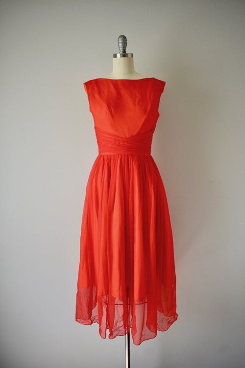 Vintage 1950s Jr. Theme Lipstick Red Chiffon Gown