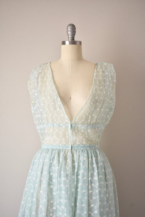 Vintage 1950s Blue Floral Sheer Dress