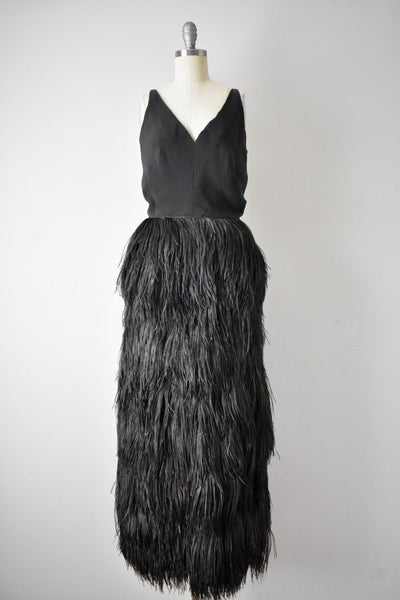 Vintage 1960s Silk Crepe and Ostrich Feather Dress