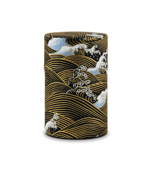Rishi: Japanese Washi Tea Tin: Black Wave Pattern