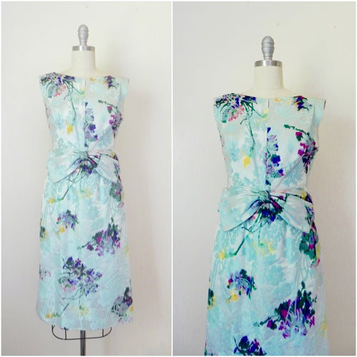 Vintage 1960s Blue Abstract Floral Sleeveless Dress - Vintage World Rocks - 1