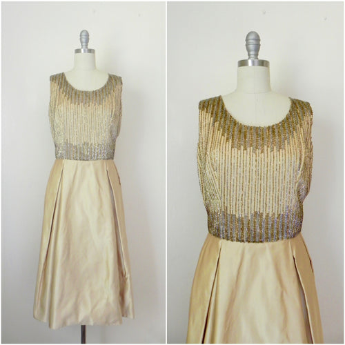 Vintage 1980s Rizik Brothers Gold Sequin Evening Gown - Vintage World Rocks - 1