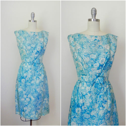 Vintage 1950s Saks Fifth Avenue Floral Blue Brocade Dress - Vintage World Rocks - 1