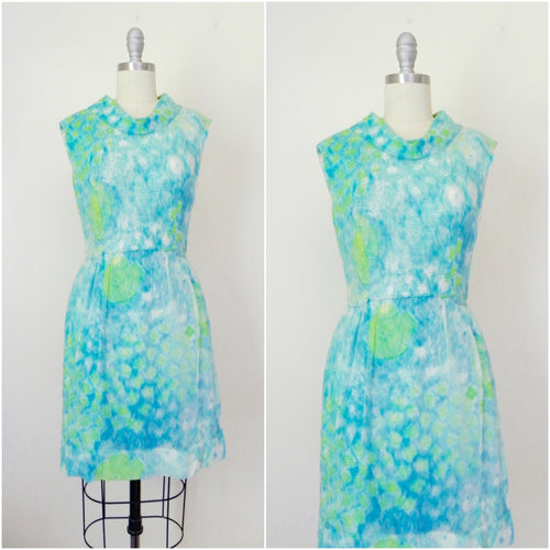 Vintage 1940s/1950s Silk Sheer Overlay Blue Floral Dress - Vintage World Rocks