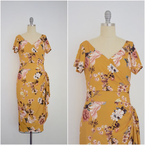 Vintage Inspired 1950s Sakura Blossom Yellow Wrap Effect Dress