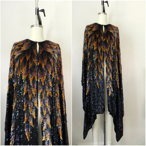 Vintage 1970s 100% Silk Halston Original Sequined Overcoat/Cape - Vintage World Rocks - 1