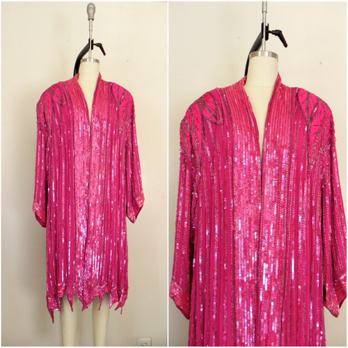Vintage 1970s  Judith Ann Plus  100% Silk Pink Sequin Top/ Overcoat AS IS - Vintage World Rocks - 1