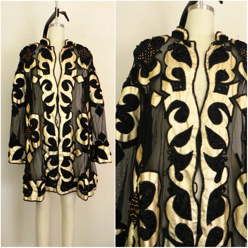 Vintage Black Gold Sheer Coat/Jacket - Vintage World Rocks - 1