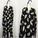 Vintage 1980s Black and Gold Floral Dress - Vintage World Rocks - 1