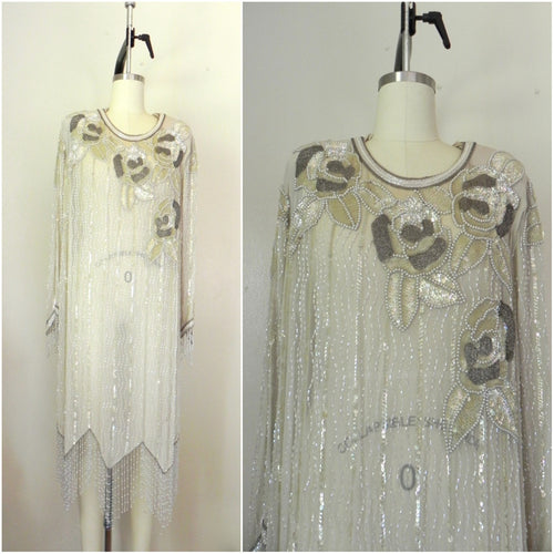 Vintage 1980s Off White Grey Sequined Beaded Silk Oleg Cassini Dress - Vintage World Rocks - 1