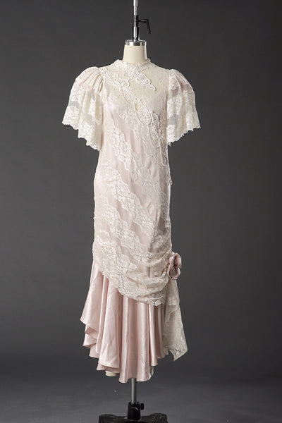 Vintage 1950 Lace White/ Pink Wedding Dress/ Formal Party Dress - Vintage World Rocks - 2