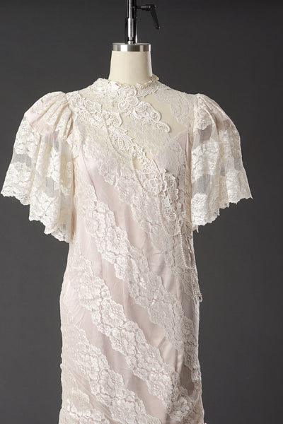Vintage 1950 Lace White/ Pink Wedding Dress/ Formal Party Dress - Vintage World Rocks - 3