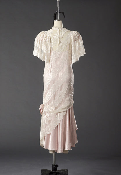 Vintage 1950 Lace White/ Pink Wedding Dress/ Formal Party Dress - Vintage World Rocks - 6