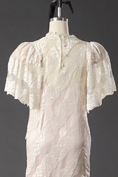 Vintage 1950 Lace White/ Pink Wedding Dress/ Formal Party Dress - Vintage World Rocks - 5