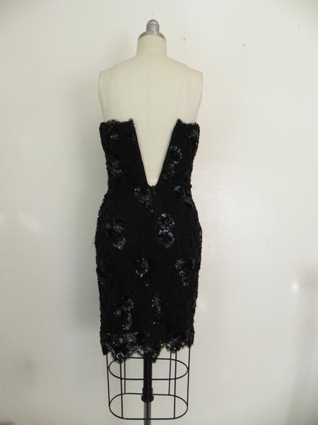 Vintage Handmade Black Beaded Dress - Vintage World Rocks - 9