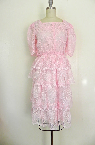 Vintage 1960s Pink Lace Tierd  Ruffled Cocktail Party Peplum Dress size S - Vintage World Rocks - 2