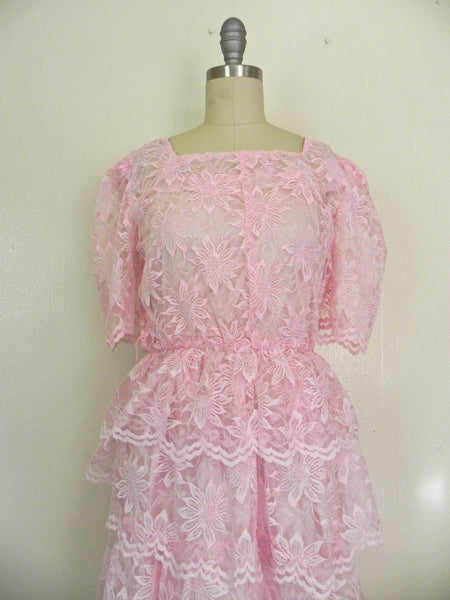 Vintage 1960s Pink Lace Tierd  Ruffled Cocktail Party Peplum Dress size S - Vintage World Rocks - 3