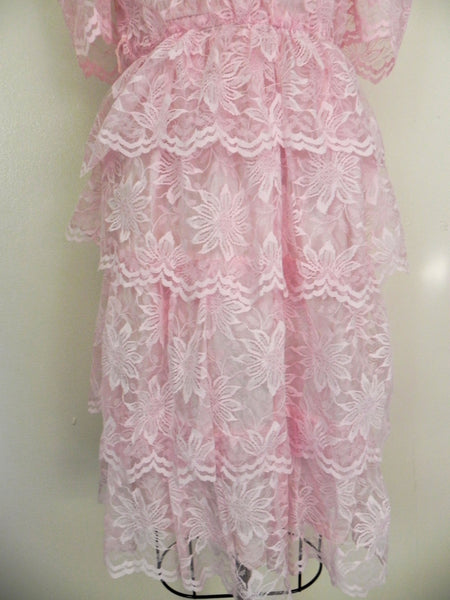 Vintage 1960s Pink Lace Tierd  Ruffled Cocktail Party Peplum Dress size S - Vintage World Rocks - 4
