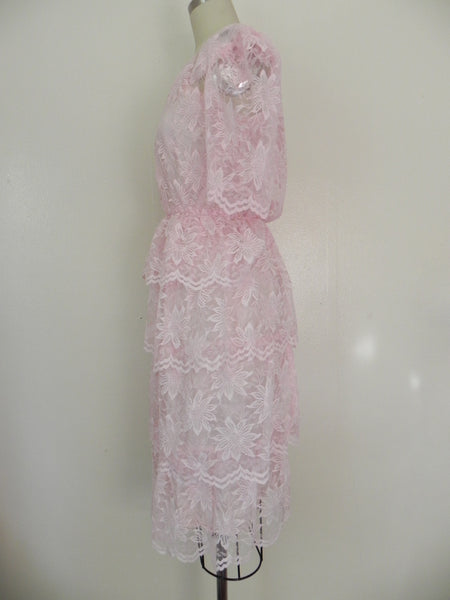 Vintage 1960s Pink Lace Tierd  Ruffled Cocktail Party Peplum Dress size S - Vintage World Rocks - 5