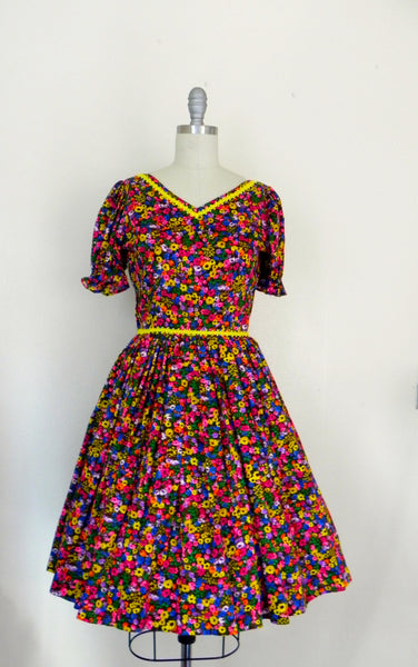 Vintage 1950s Neon Floral Retro Country Dance Handmade Dress size Xs S - Vintage World Rocks - 3