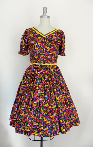 Vintage 1950s Neon Floral Retro Country Dance Handmade Dress size Xs S - Vintage World Rocks - 4