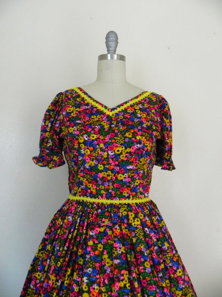 Vintage 1950s Neon Floral Retro Country Dance Handmade Dress size Xs S - Vintage World Rocks - 5
