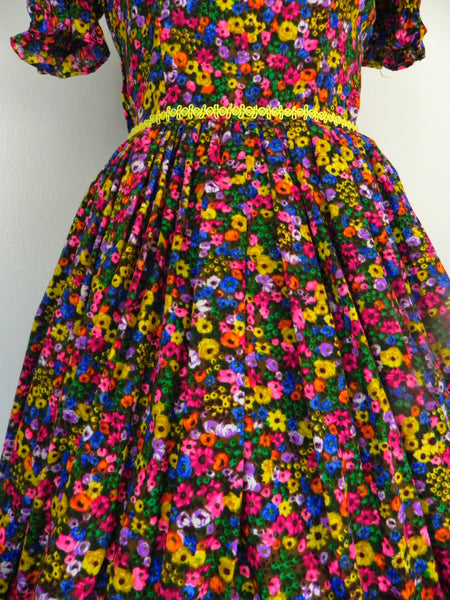 Vintage 1950s Neon Floral Retro Country Dance Handmade Dress size Xs S - Vintage World Rocks - 6