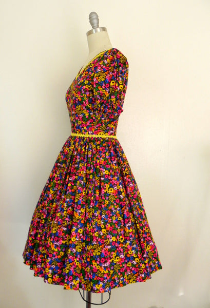 Vintage 1950s Neon Floral Retro Country Dance Handmade Dress size Xs S - Vintage World Rocks - 7