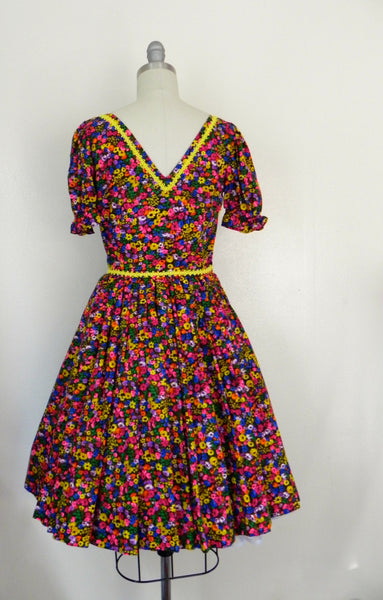 Vintage 1950s Neon Floral Retro Country Dance Handmade Dress size Xs S - Vintage World Rocks - 8