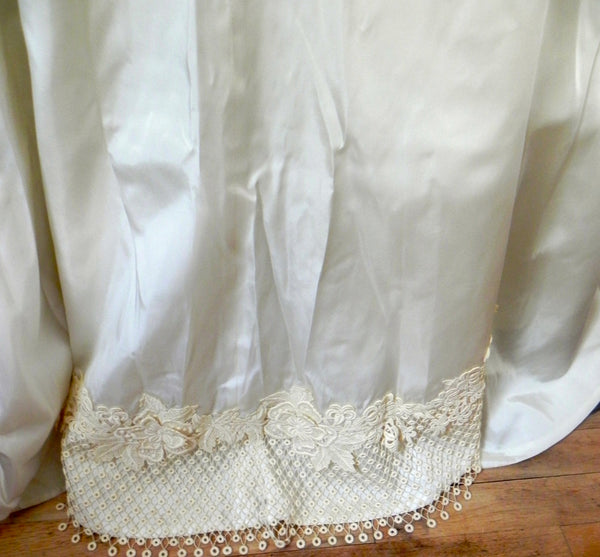 Vintage 1950s Bridal Originals Ivory Cream Satin Lace Wedding Dress w/ Removable Sleeves and Train XS/S - Vintage World Rocks - 12