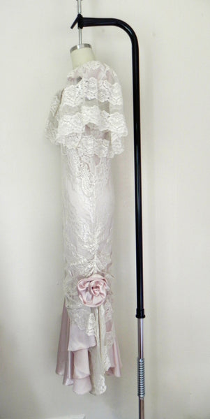 Vintage 1950 Lace White/ Pink Wedding Dress/ Formal Party Dress - Vintage World Rocks - 7