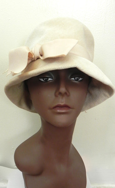Vintage 1950 Off White/ Beige Bow Hat - Vintage World Rocks - 1