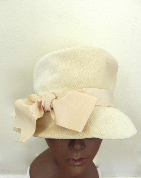 Vintage 1950 Off White/ Beige Bow Hat - Vintage World Rocks - 2