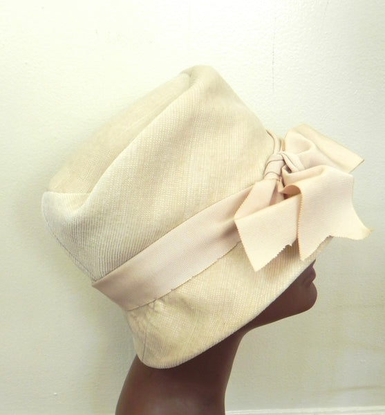 Vintage 1950 Off White/ Beige Bow Hat - Vintage World Rocks - 3