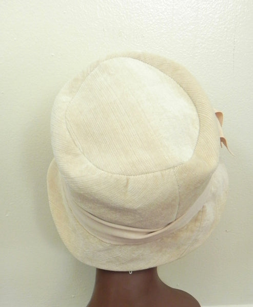 Vintage 1950 Off White/ Beige Bow Hat - Vintage World Rocks - 4