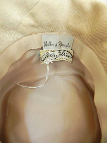 Vintage 1950 Off White/ Beige Bow Hat - Vintage World Rocks - 6