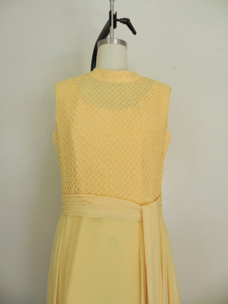 Vintage 1970s Yellow Sleeveless Dress - Vintage World Rocks - 3