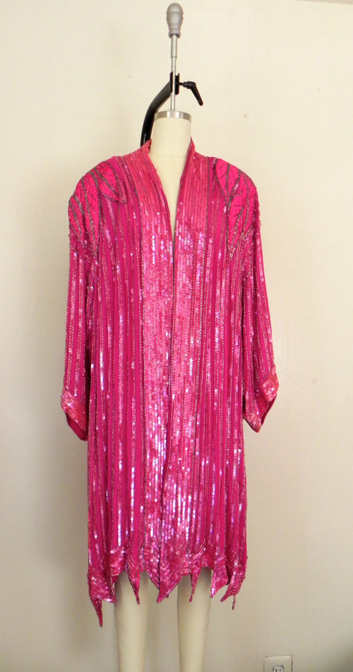 Vintage 1970s  Judith Ann Plus  100% Silk Pink Sequin Top/ Overcoat AS IS - Vintage World Rocks - 2