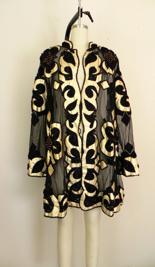 Vintage Black Gold Sheer Coat/Jacket - Vintage World Rocks - 2