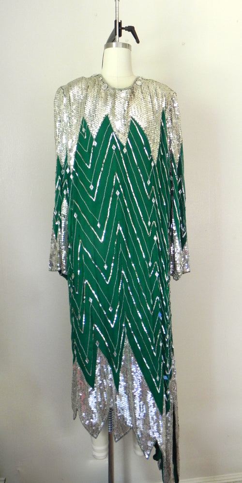 Vintage 1970s Beaded Judith Anne Creations 100% Silk Sequin Sliver Green Dress - Vintage World Rocks - 2