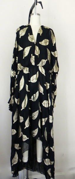 Vintage 1980s Black and Gold Floral Dress - Vintage World Rocks - 2