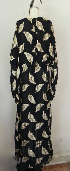 Vintage 1980s Black and Gold Floral Dress - Vintage World Rocks - 5