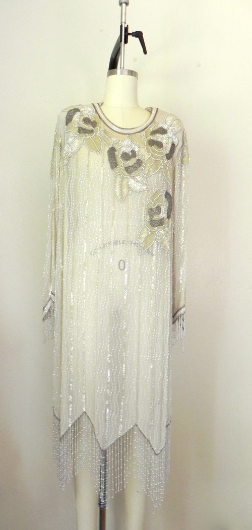 Vintage 1980s Off White Grey Sequined Beaded Silk Oleg Cassini Dress - Vintage World Rocks - 2